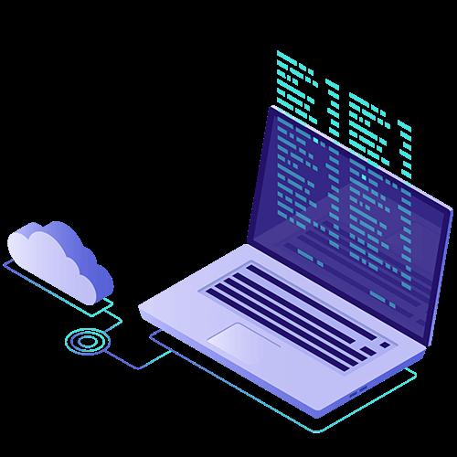 """Enorme Zeit- und Geldersparnis mit der """"digitalen Buchhaltung"""" von TaxModel. Futuristische Laptop-Grafik"""